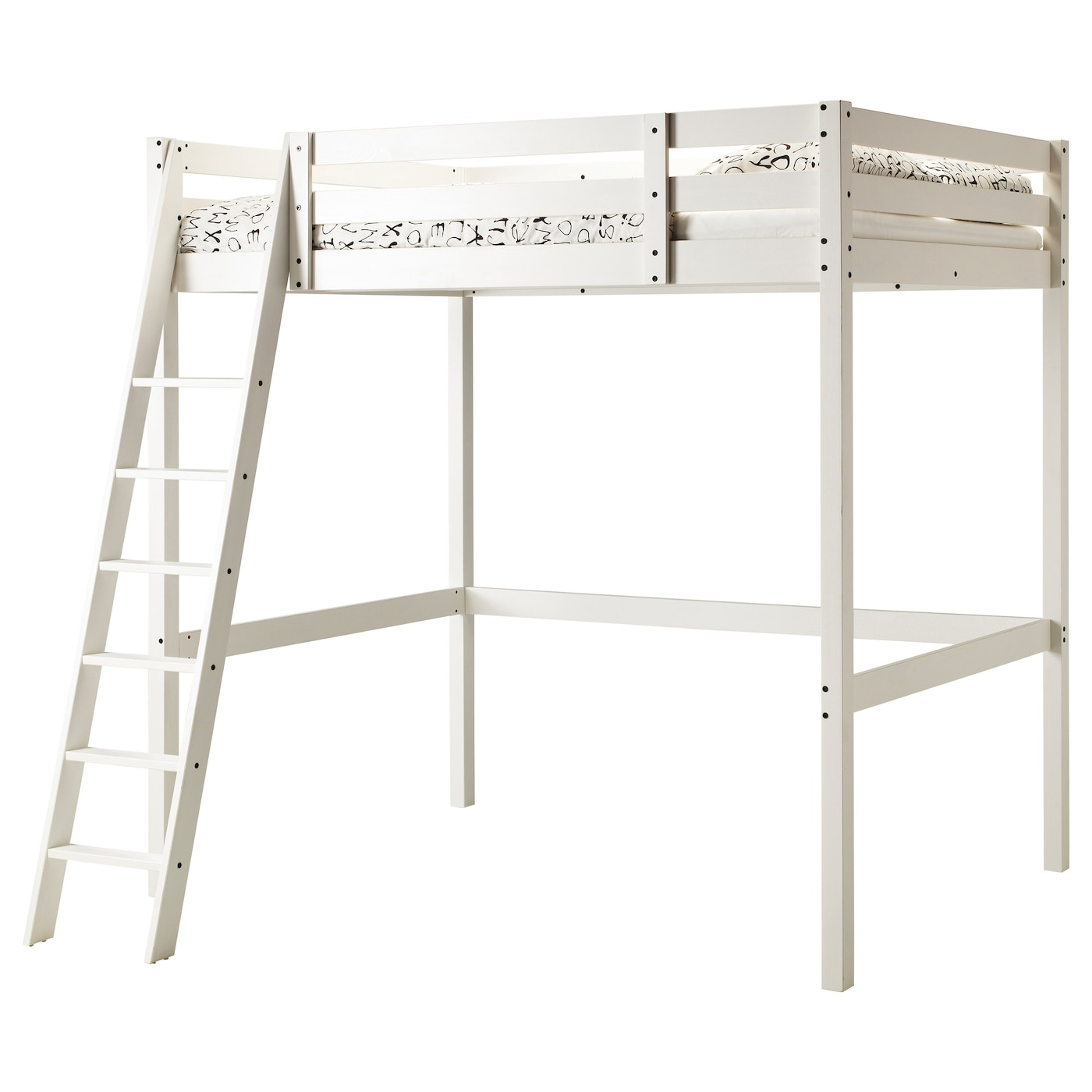 stor loft bed frame white stain 140x200 cm ikea. Black Bedroom Furniture Sets. Home Design Ideas