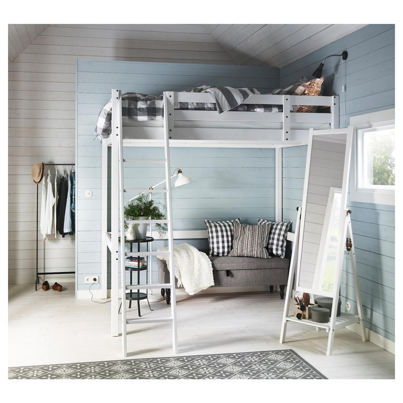 Stora White Stain Loft Bed Frame 140x200 Cm Ikea