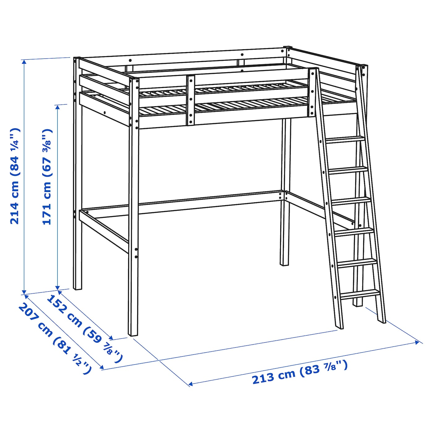 Picture of: Stora White Stain Loft Bed Frame 140×200 Cm Ikea
