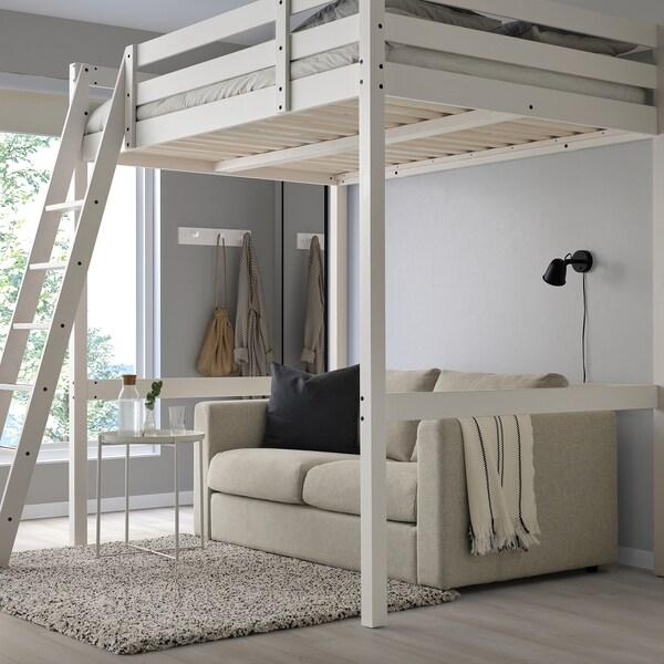 STORÅ Loft bed frame, white stain, 140x200 cm
