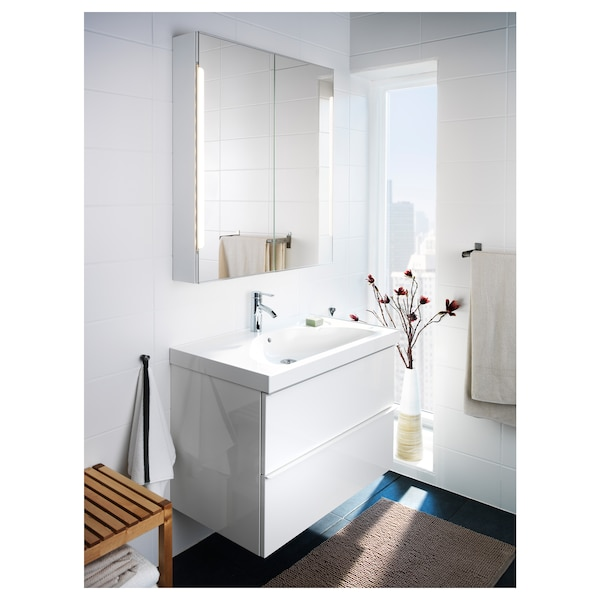 STORJORM Mirror cab 2 door/built-in lighting, white, 80x14x96 cm