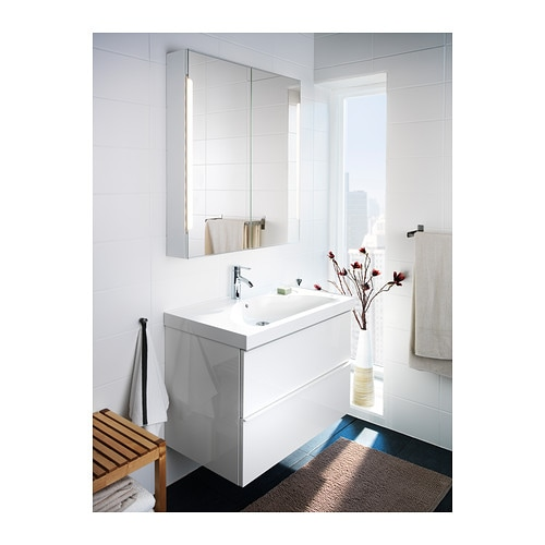 storjorm mirror cab 2 door built in lighting white 80x14x96 cm ikea