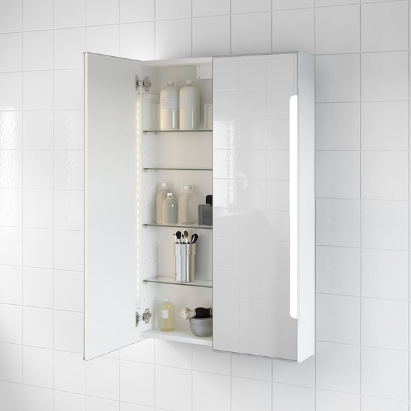 STORJORM Mirror cab 2 door/built-in lighting, white, 60x14x96 cm