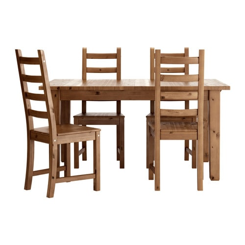 Storn s kaustby table and 4 chairs antique stain ikea - Ikea wooden dining table chairs ...