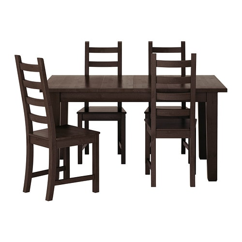 Storn s kaustby table and 4 chairs brown black ikea - Ikea table et chaise ...