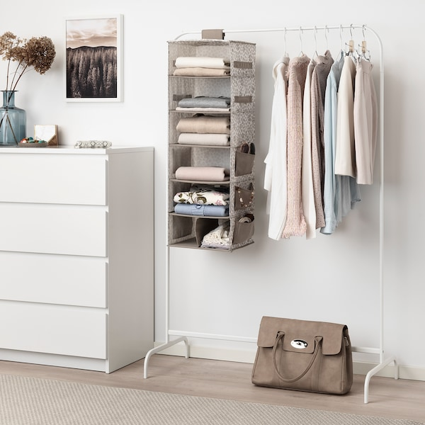 STORSTABBE Hanging storage with 7 compartments, beige, 30x30x90 cm