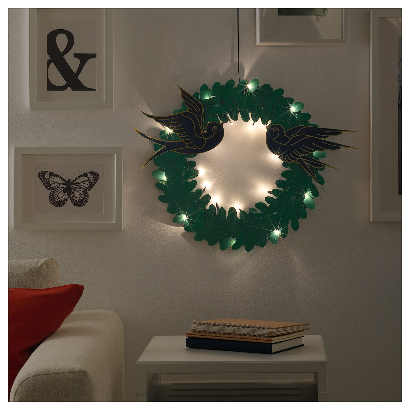 IKEA STRÅLA LED wreath Gives a warm, cosy glow and spreads the holiday atmosphere in your home.