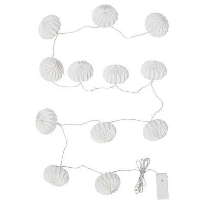 STRÅLA LED lighting chain with 12 lights, battery-operated/origami white