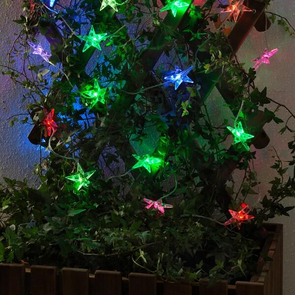 STRÅLA LED lighting chain with 24 lights, outdoor/flashing star