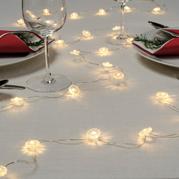 STRÅLA LED lighting chain with 30 lights, battery-operated flower/white