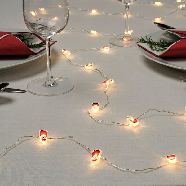 STRÅLA LED lighting chain with 30 lights, battery-operated/Santa Claus