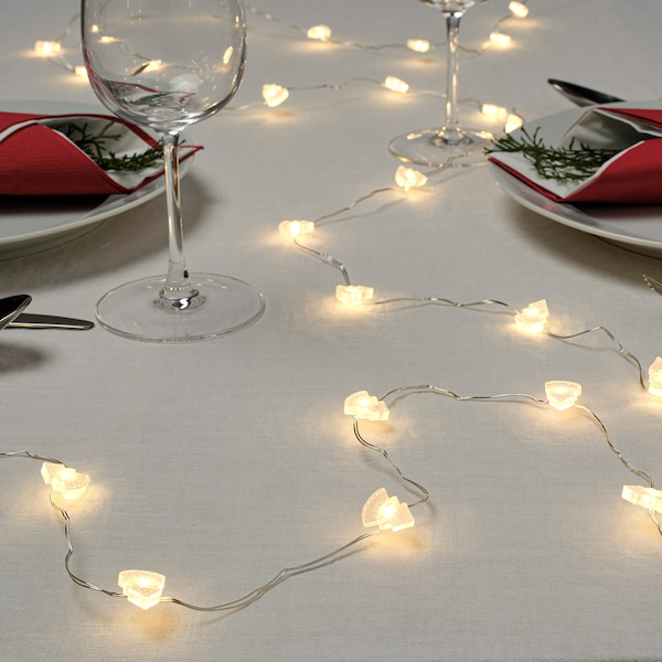 STRÅLA LED lighting chain with 30 lights, battery-operated tree/white