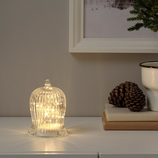 STRÅLA LED table decoration, battery-operated/bell-shaped clear