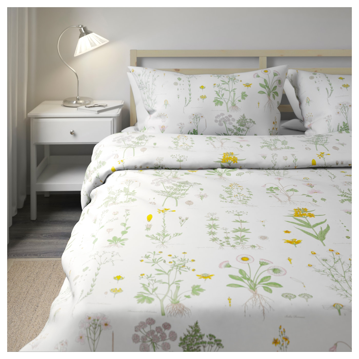 Strandkrypa quilt cover and 4 pillowcases floral patterned for Ikea bedding duvet
