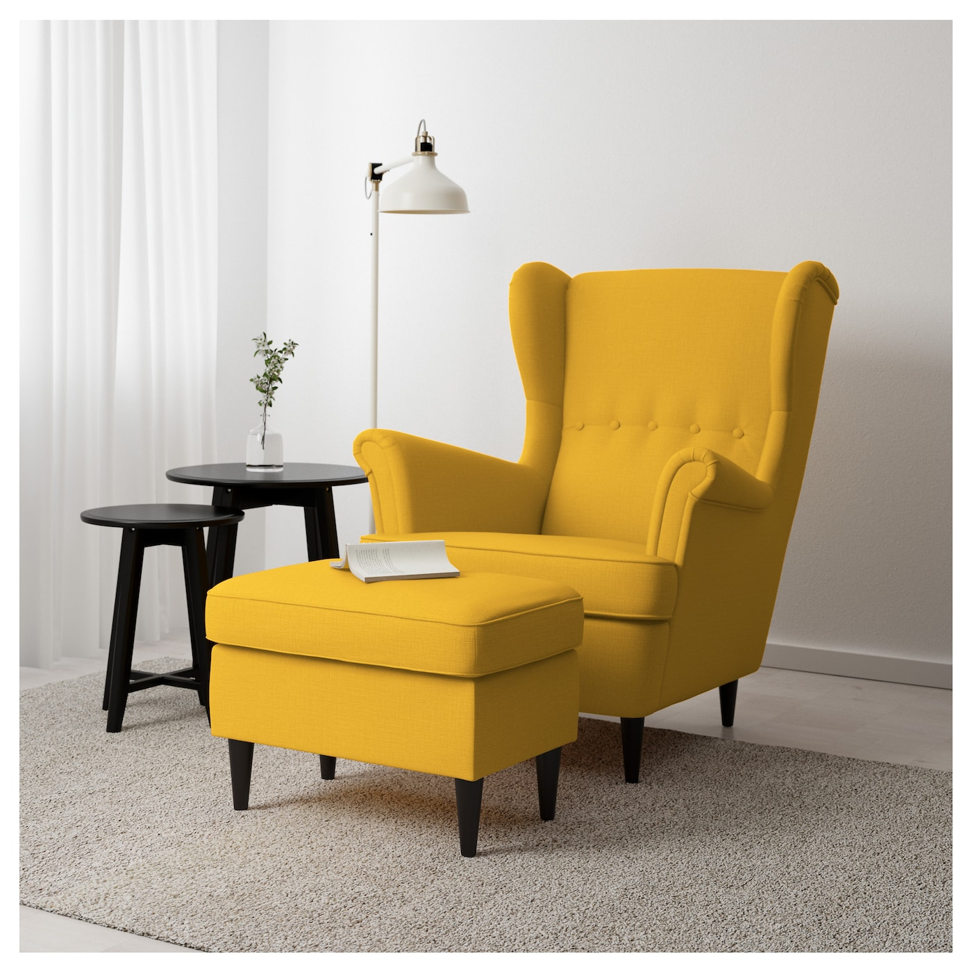 STRANDMON Footstool Skiftebo yellow IKEA