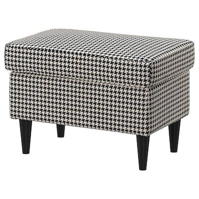 STRANDMON footstool Vibberbo black/beige 60 cm 40 cm 44 cm