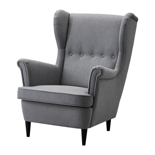 Strandmon wing chair nordvalla dark grey ikea Sofa spannbezug