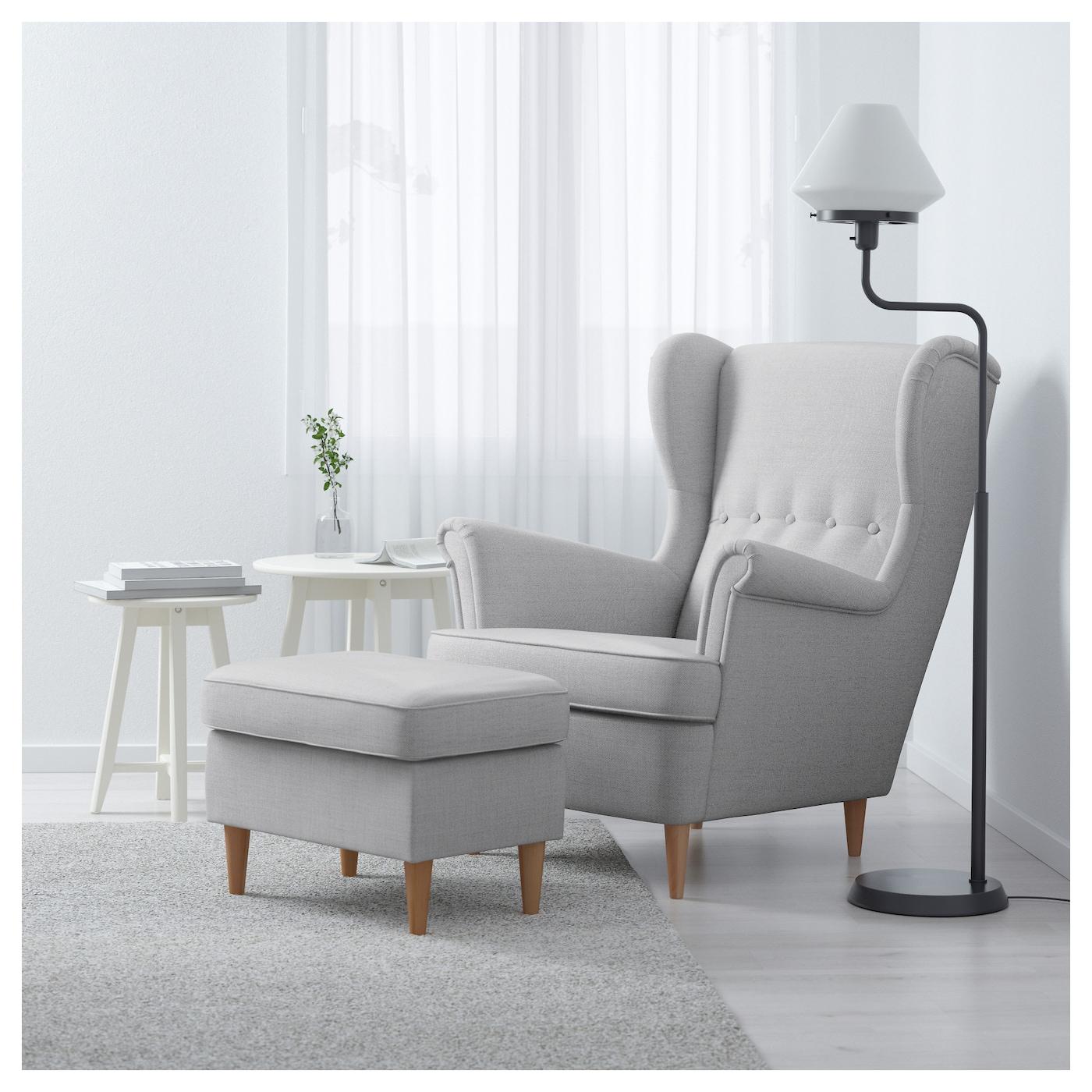Strandmon Wing Chair Nordvalla Light Grey Ikea