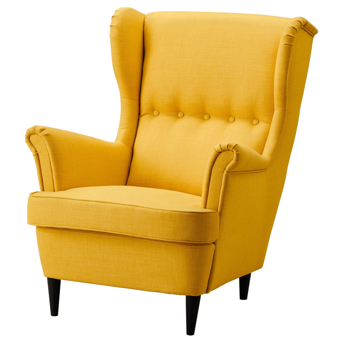 Strandmon wing chair skiftebo yellow ikea for Ohrensessel retro
