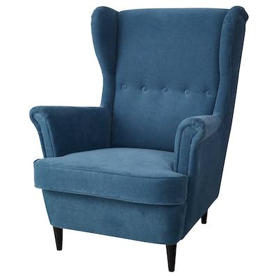 STRANDMON Wing chair, Tallmyra blue