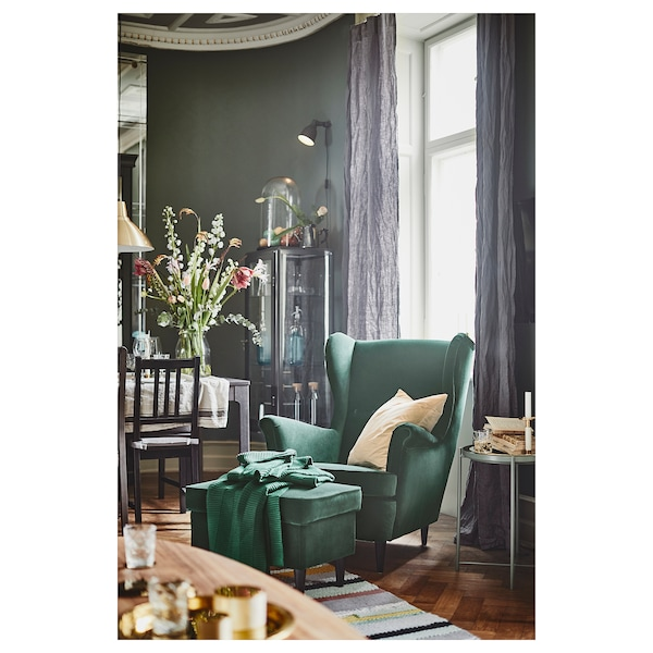 Ikea Strandmon wingback chair green in