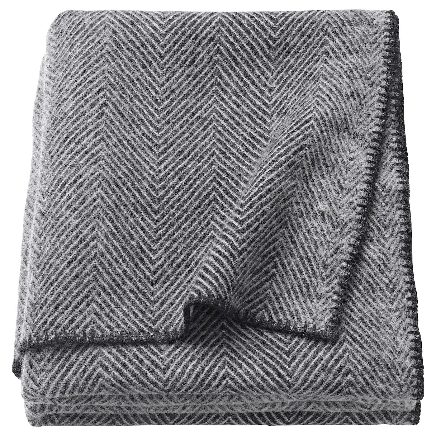 STRIMLÖNN Throw Grey 150 x 200 cm - IKEA