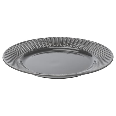 STRIMMIG Plate, earthenware grey, 27 cm