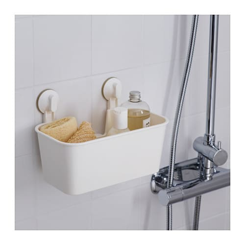 Ikea stugvik white bathroom basket with suction cup mounts for tiles glass b111 ebay - Ikea bathroom tiles ...