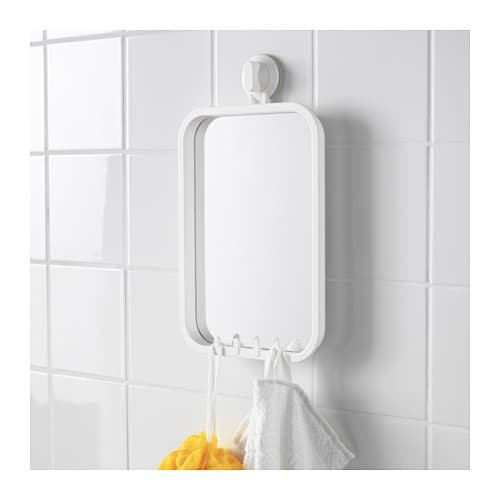 Stugvik mirror with hooks and suction cup white ikea for Grand miroir ikea