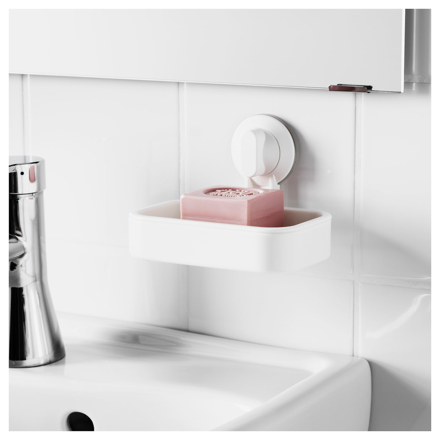 IKEA STUGVIK soap dish with suction cup With a suction cup that grips smooth surfaces.