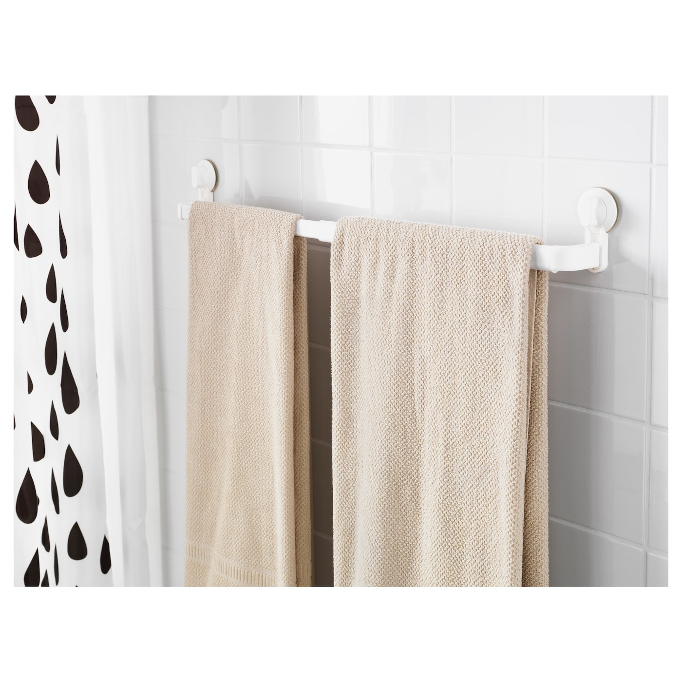 white towel hooks for bathrooms stugvik towel rack with suction cup white ikea 24688