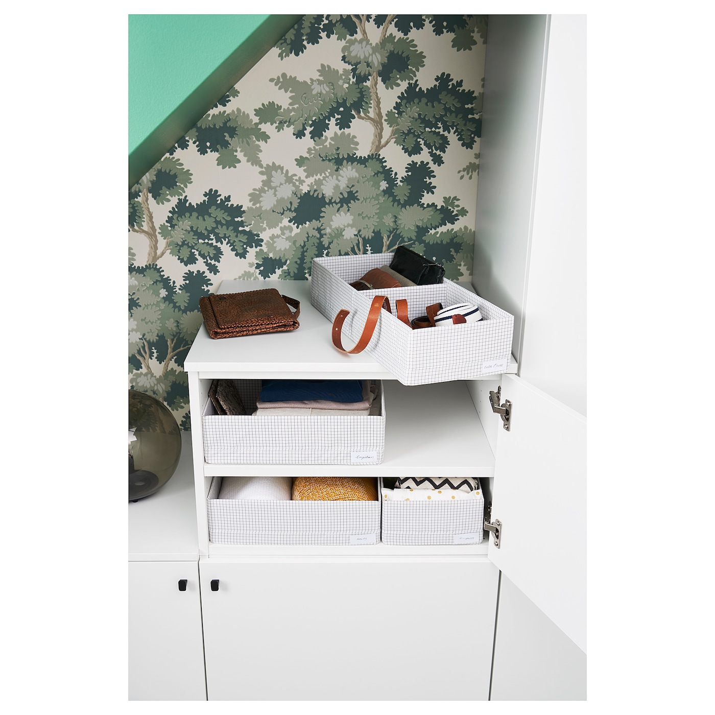 IKEA STUK box with compartments The label holder helps you to organise and find your things.