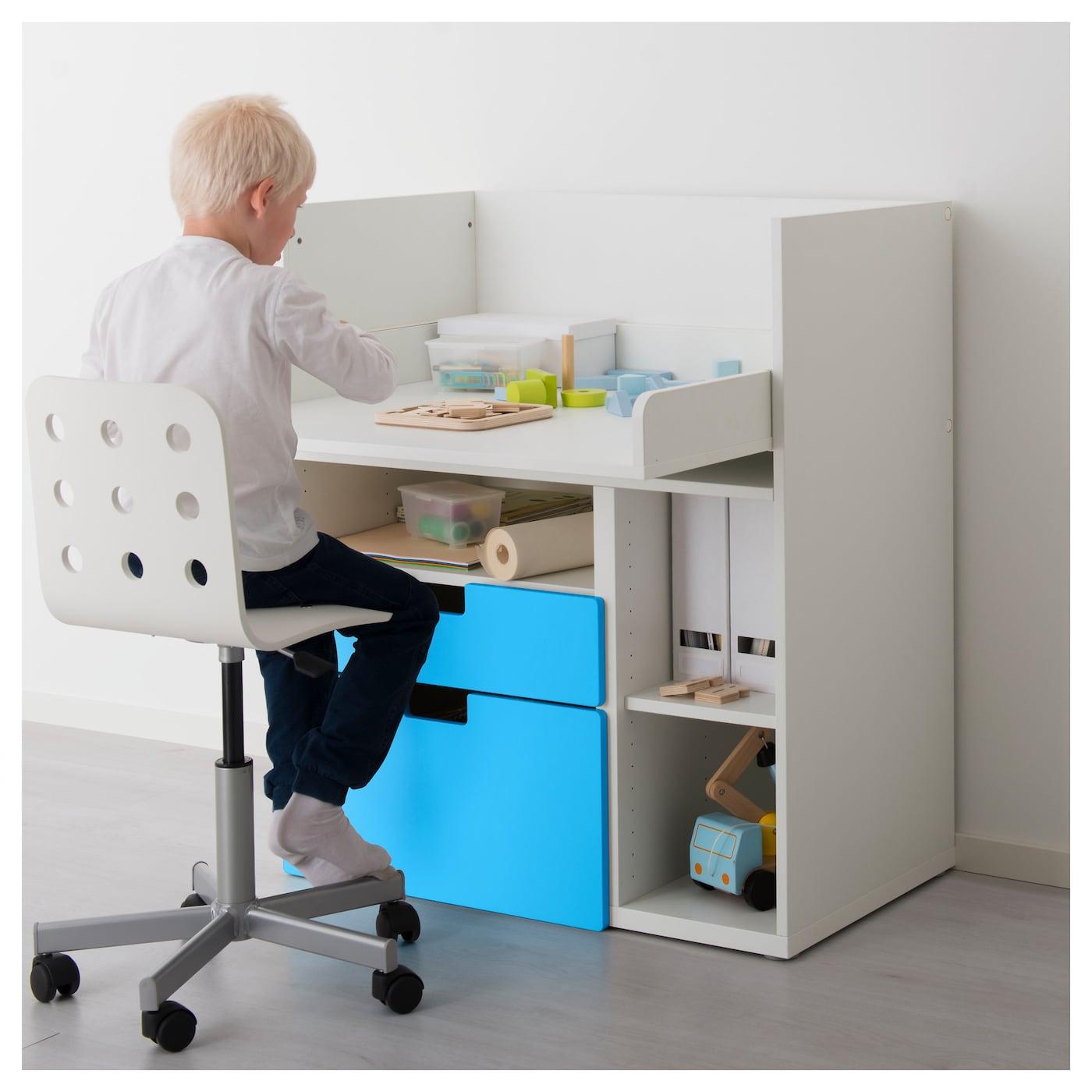 Stuva desk with 2 drawers white blue 90x79x102 cm ikea - Ikea desk drawer organizer ...