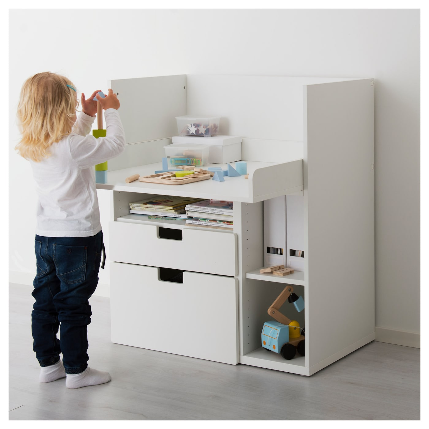 Stuva desk with 2 drawers white 90x79x102 cm ikea - Ikea desk drawer organizer ...