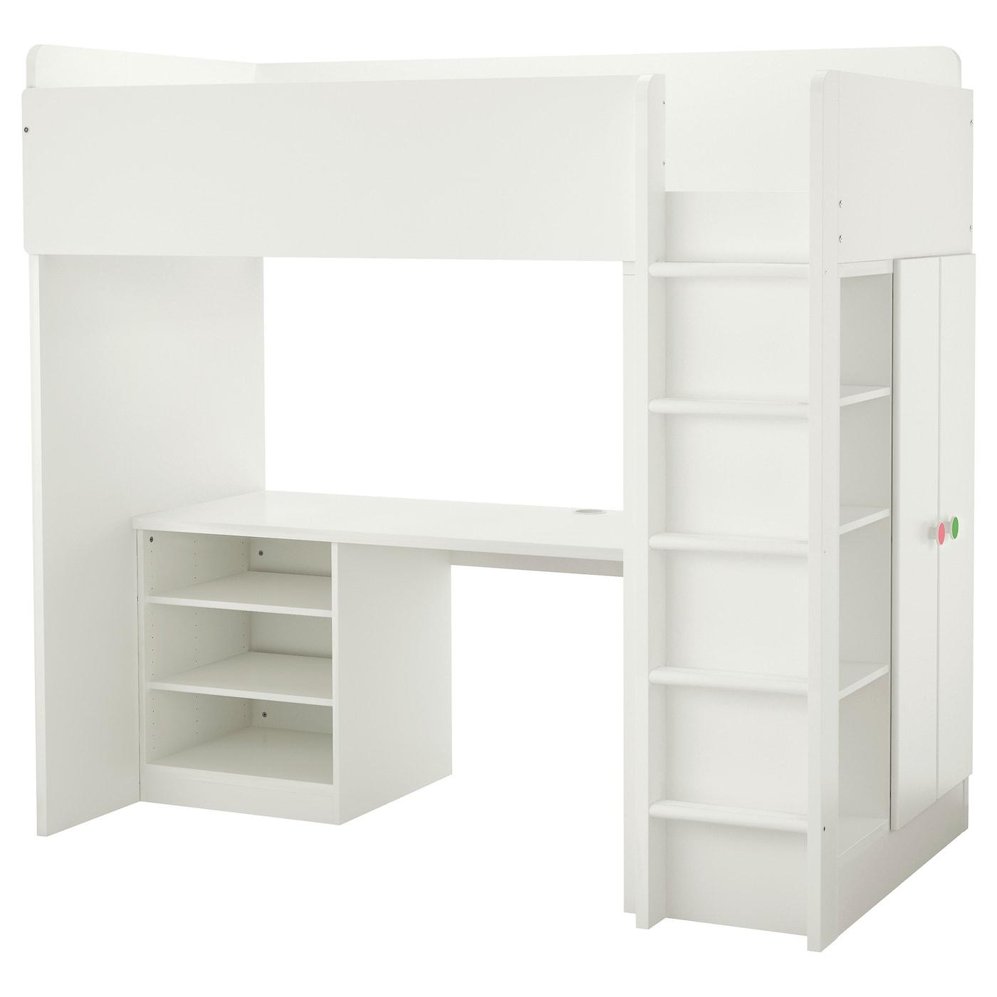 STUVA F–LJA Loft bed bo w 2 shelves 2 doors White 207x99x193 cm