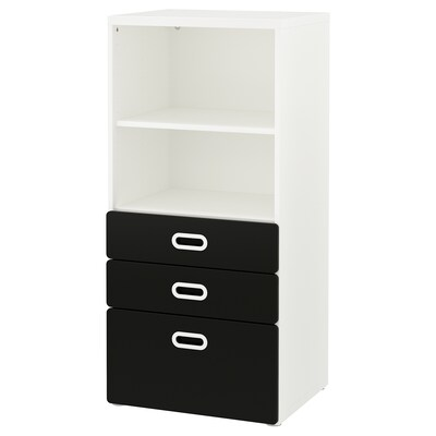 STUVA / FRITIDS bookcase with drawers white/blackboard surface 60 cm 50 cm 128 cm