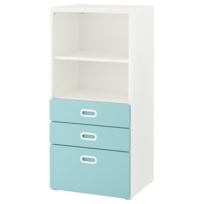 STUVA / FRITIDS bookcase with drawers white/light blue 60 cm 50 cm 128 cm