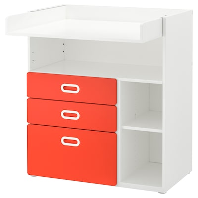 STUVA / FRITIDS changing table with drawers white/red 90 cm 79 cm 102 cm 15 kg