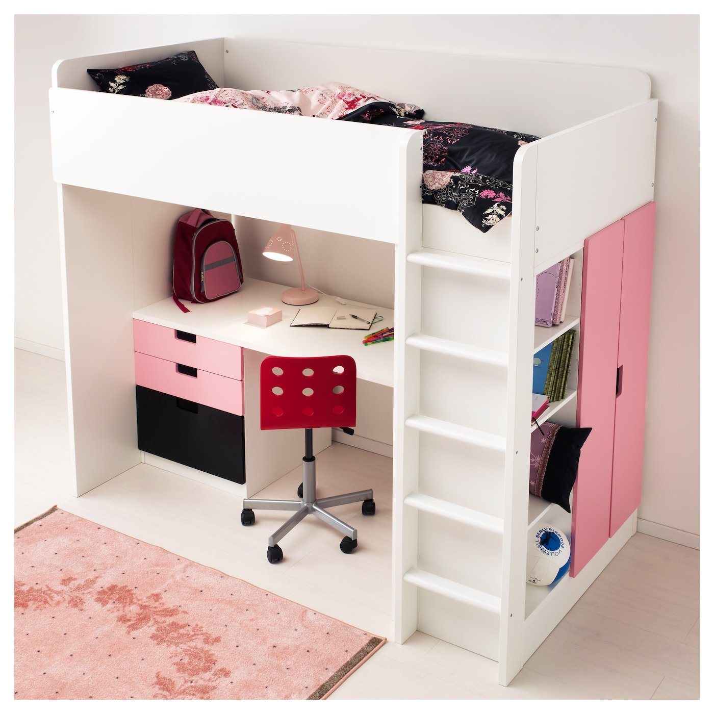 stuva loft bed combo w 1 drawer 2 doors white pink 207x99x193 cm ikea. Black Bedroom Furniture Sets. Home Design Ideas