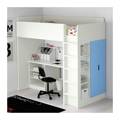 Stuva loft bed combo w 2 shelves 2 doors white blue for Armadio stuva ikea