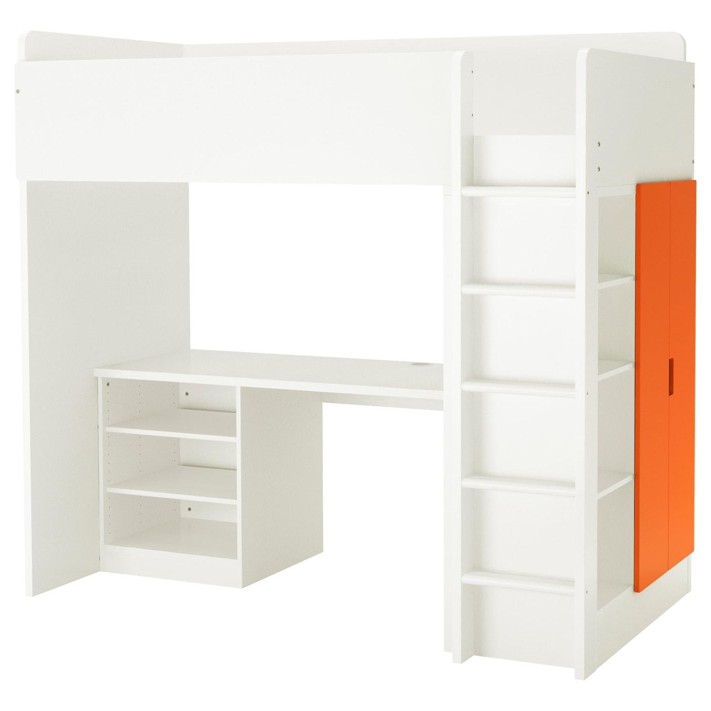Stuva Loft Bed Combo W 2 Shelves 2 Doors White Orange