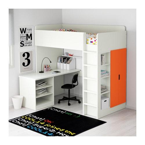 stuva loft bed combo w 2 shelves 2 doors white orange 207x99x193 cm ikea. Black Bedroom Furniture Sets. Home Design Ideas