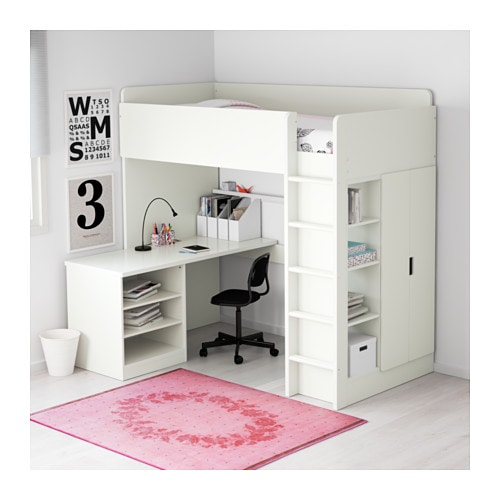 STUVA Loft bed combo w 2 shelves/2 doors White 207x99x193 cm - IKEA