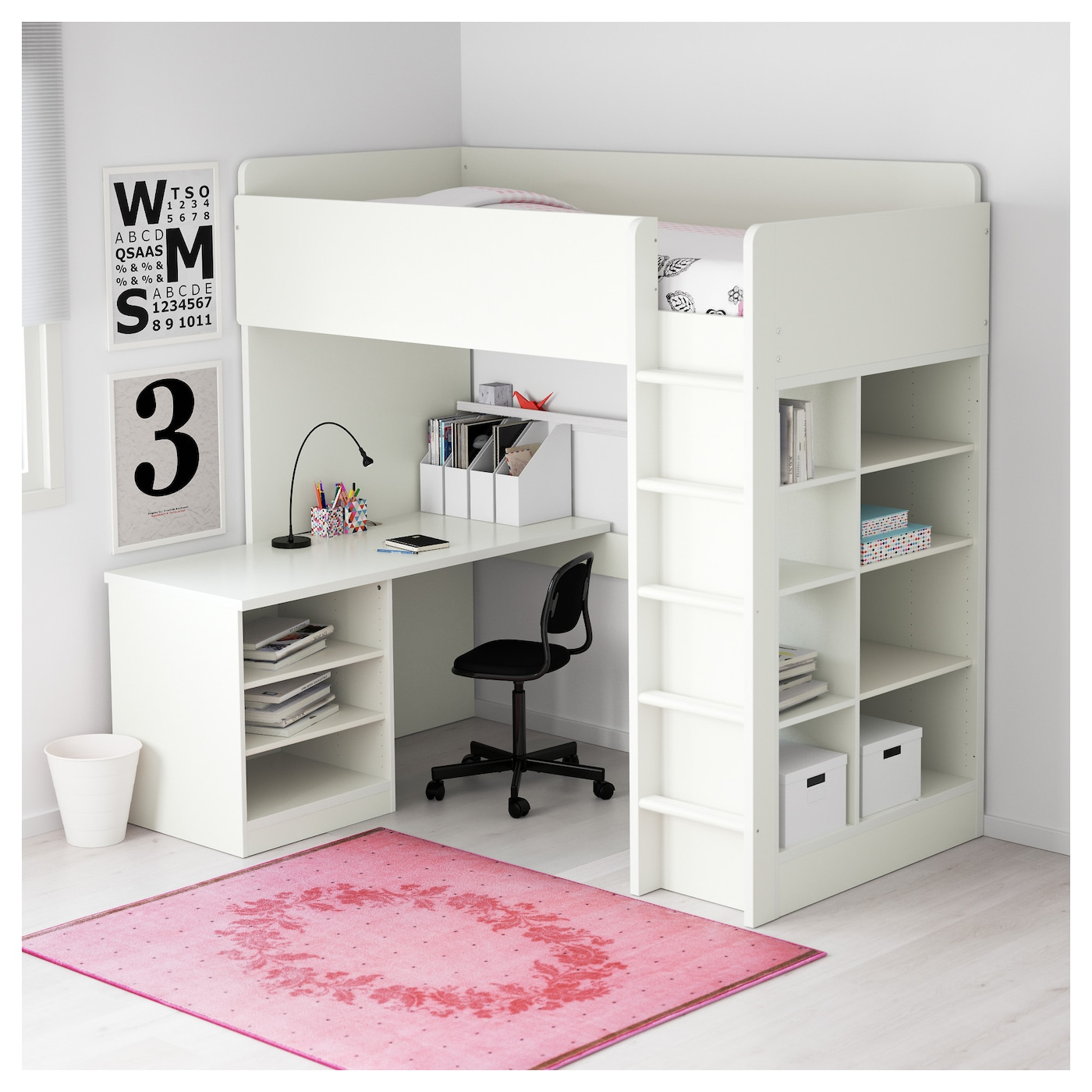 Stuva loft bed combo w 2 shlvs 3 shlvs white 207x99x193 cm for Loft furniture