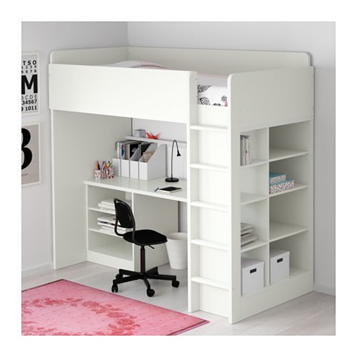 STUVA Loft bed combo w 2 shlvs3 shlvs White 207x99x193 cm
