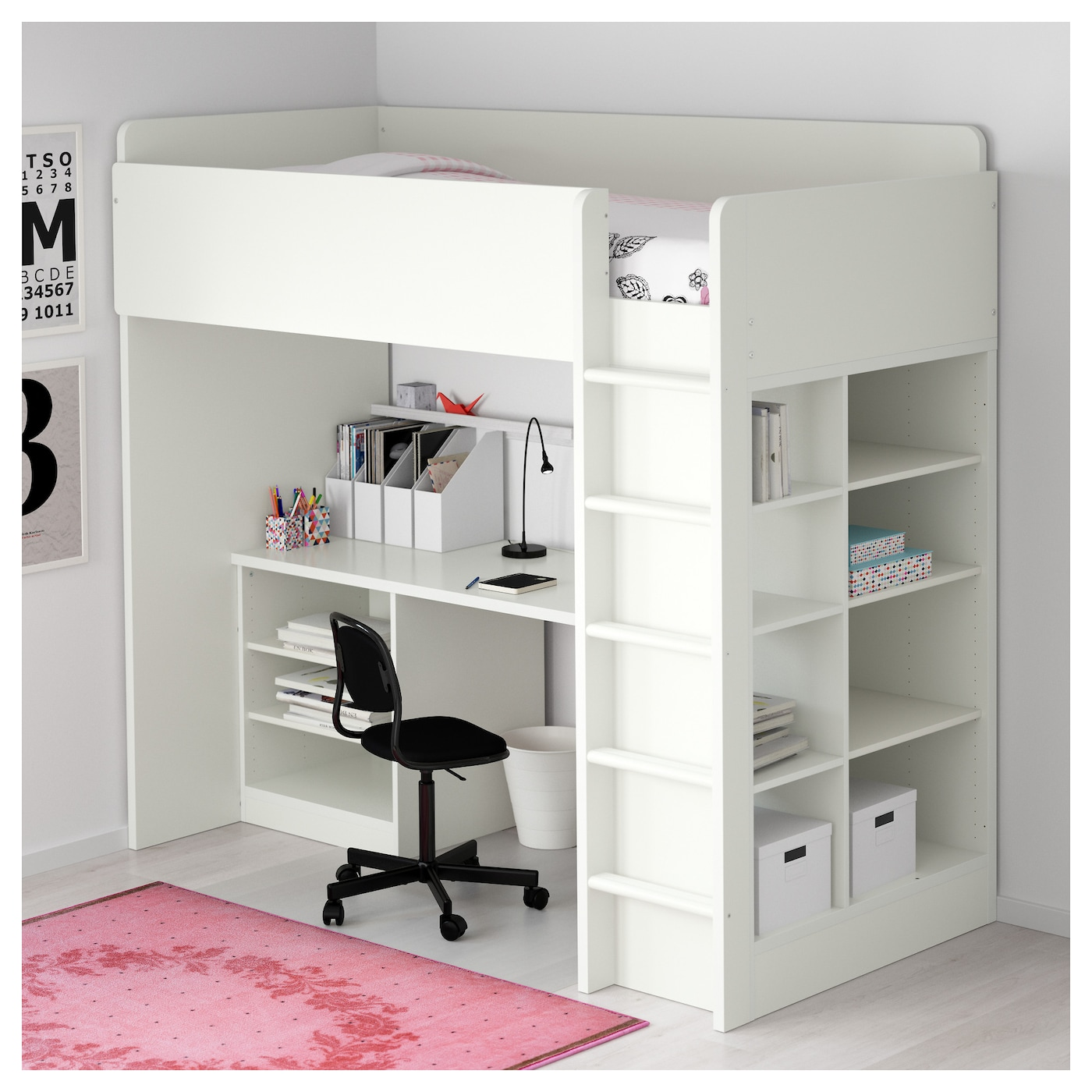 stuva loft bed combo w 2 shlvs 3 shlvs white 207x99x193 cm ikea. Black Bedroom Furniture Sets. Home Design Ideas
