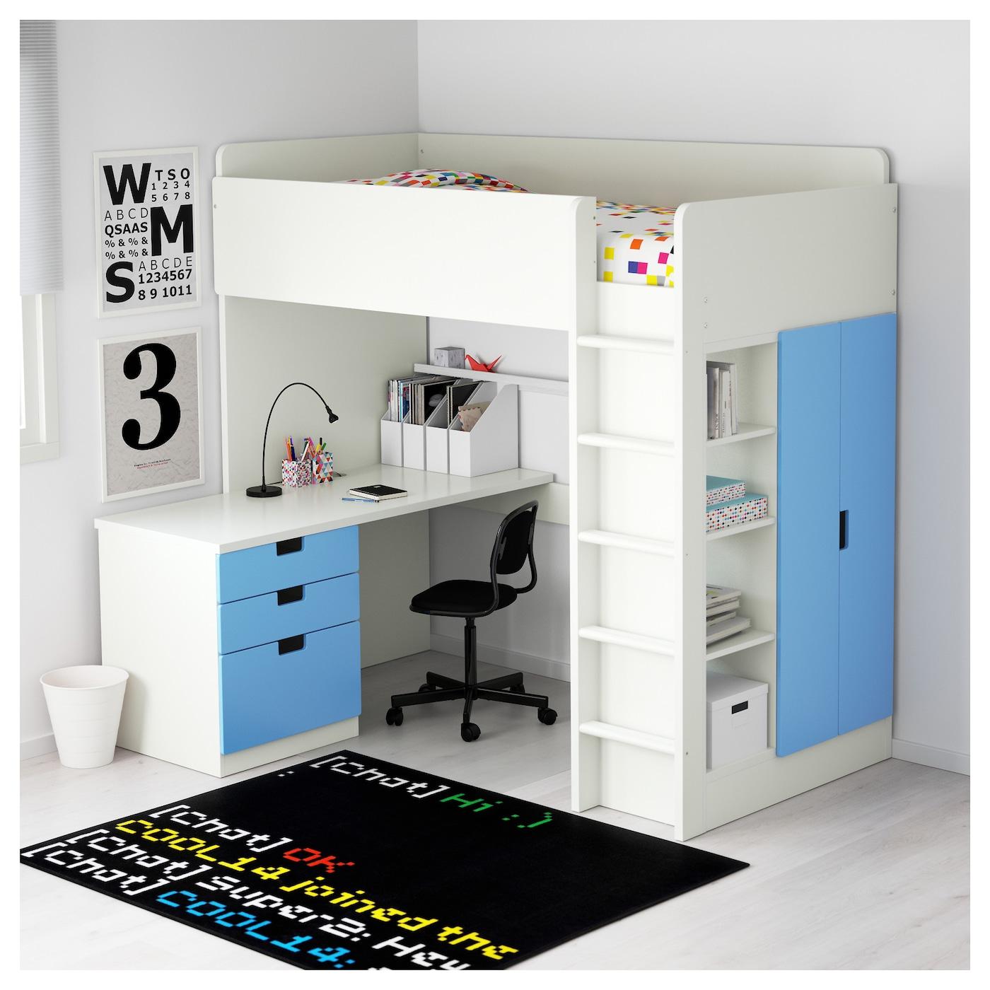 Stuva loft bed combo w 3 drawers 2 doors white blue 207x99x193 cm ikea - Ekia furniture ...