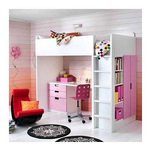 Stuva Loft Bed Combo W 3 Drawers 2 Doors White Pink 207x99x193 Cm