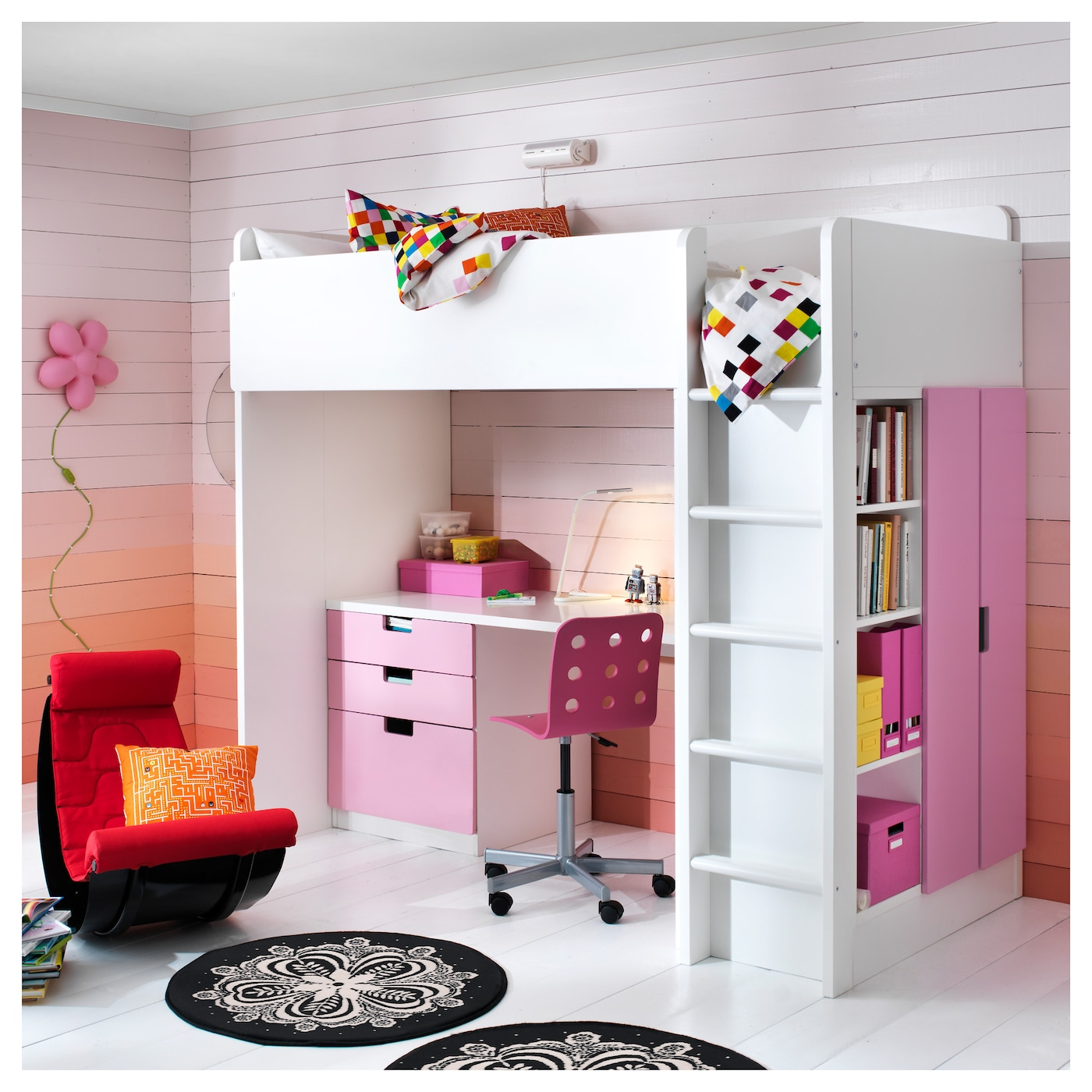 stuva loft bed combo w 3 drawers 2 doors white pink. Black Bedroom Furniture Sets. Home Design Ideas