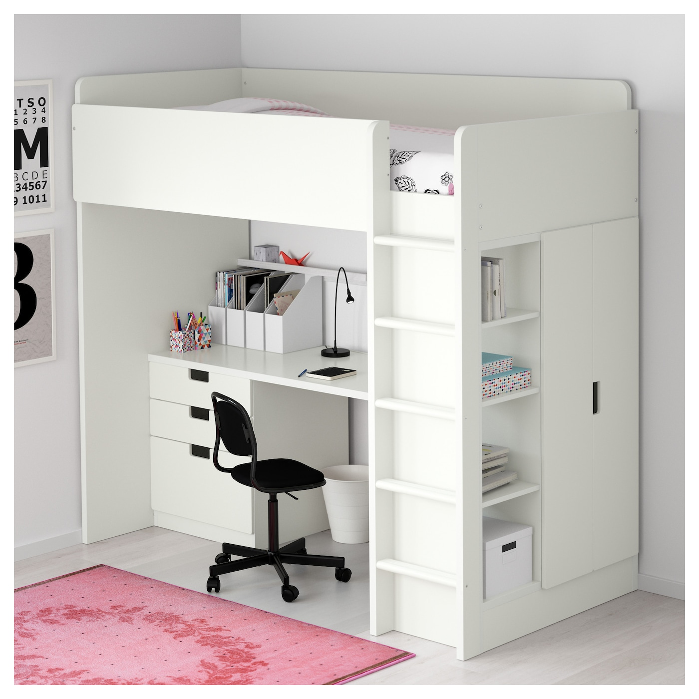 stuva loft bed combo w 3 drawers 2 doors white 207x99x193. Black Bedroom Furniture Sets. Home Design Ideas